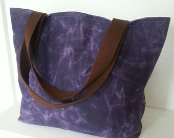 Large Purple Waxed Canvas Tote Bag, African Batik Lining, Shoulder Bag, Overnight Bag