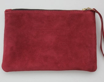 Leather Clutch bag, wristlet clutch bag,  Maroon leather suede bag, Designer leather suede bag