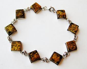 Vintage Sterling Silver Baltic Amber Modernist Panel Link Bracelet