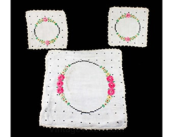 1920s Tea for Two - Hand Embroidered Tea Caddy Place Mat & Two Tea Saucer Squares - Pink Daisies and Black Polka Dots on Linen - 48248