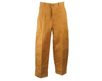 Men's Medium 1940s Pants - Rust Brown Cotton Canvas Hunting Trousers - Authentic 40s Handsome Work Wear - Waist 33.5 - 48823