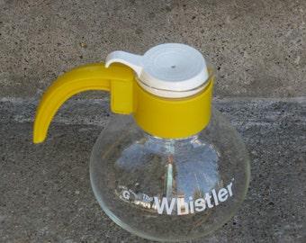 gemco whistler yellow glass tea kettle teapot 1970s teapot 1970s kitchen clear glass teakettle