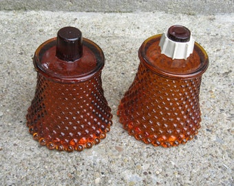 amber glass votive candle holder pair home interiors hobnail pattern