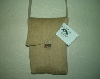 natural hemp canvas crossbody iphone or shoulder purse with natural taupe hemp strap. coconut button,lined with pocket, made in California