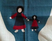 Sarah and Anne Plain Folk Dolls Fabric Panel X0782 Amish
