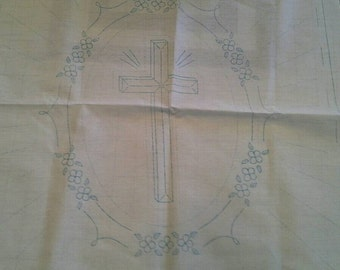 "Stamped Embroidery Fabric Panel,Set of 2 18' X 18"", Cross, Christian, Easter X0765"