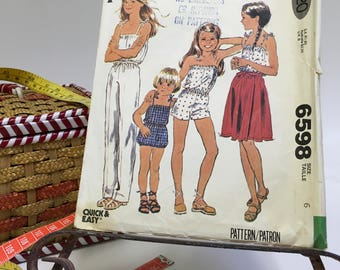 McCall's # 6598 Girls Jumpsuit Wrap Skirt Culotte Girls Childrens Sewing Pattern