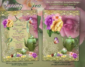Spring Tea Party Invitation, Mothers Day Tea, Garden Tea Party, Bridal Tea Shower