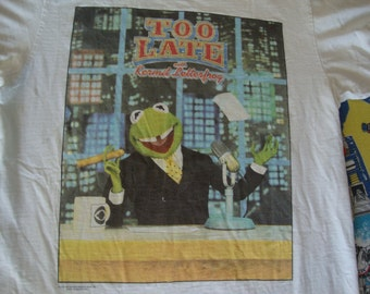 Vintage 90's The Muppets Kermit The Frog Letterfrog David Letterman parody Funny Late Night Talk show T shirt L