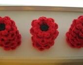 25 Red Flower Pins