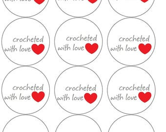 Crochet  Circle Gift Tags Labels PDF Handmade for you crochet with love Labels Printable PDF only