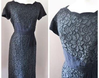 1950s Black lace & silk scalloped neckline cocktail dress / 50s Blanes fitted wiggle dress - M L