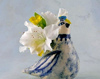 Porcelain Bird, Flower Vase or Candle Holder, Handmade ceramic sculpture vase