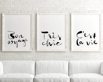 Paris Decor, Instant Download, Printable Art, Set of 3 Prints, Wall Art Printable, Paris Wall Art, Gallery Wall, Black & White Print