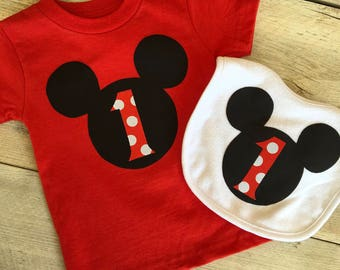 18 & 24 months, 2T, 3T, 4T Mickey Mouse Inspired Birthday Shirt and/or Bib 1st, 2nd, 3rd Birthday