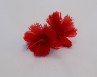 2 Red Feather Flowers
