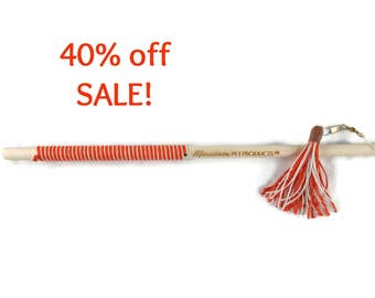 32 Inch Tassel Teaser Cat Wand Toy - Hemp Cat Toy - All Natural - Orange & White - Save 40%