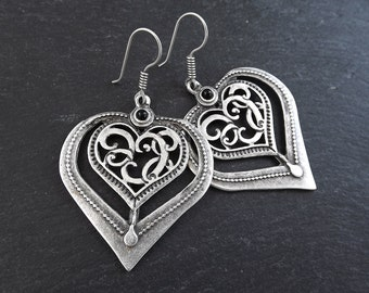Folksy Heart Ethnic Silver Statement Earrings -Black - Authentic Turkish Style