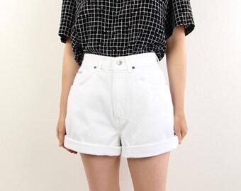 VINTAGE White Denim Shorts 1980s Chic Jeans High Rise