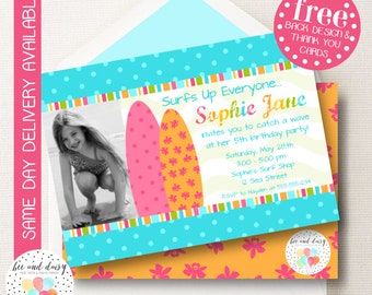 Girls Surfer Invitation, Surfer Birthday Invitation, Surfer Party, Girl First Birthday, Girl Birthday, Surfer Invite, Surfer Photo invite