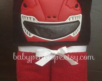 Power Ranger Hooded Towel - Power Ranger Christmas Gift - Power Ranger Birthday Gift - Personalized Power Ranger gift