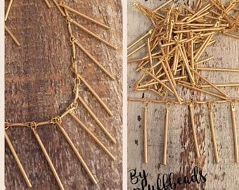 DANGLE bar chain matte brushed gold plated 5mm bar link 25mm dangle bar drop