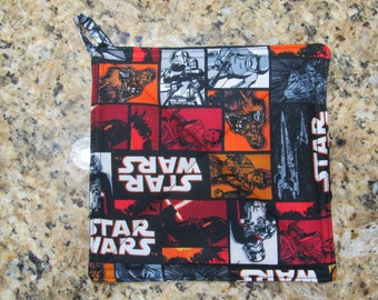Handmade Square Quilted Pot Holder - Star Wars