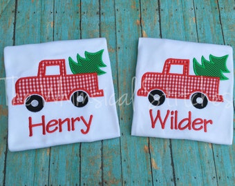 Christmas Shirt, Boys Christmas Shirt, Boys Christmas Tree Truck Shirt, Boys Personalized Christmas Shirt, Monogram, Monogrammed, Embrouder