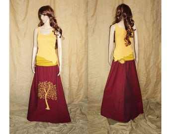Yellow assymetric, pointy, earthy, faery, fairy top woodland M