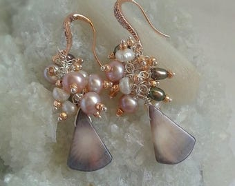 20% Off Mothers Day Sale Coral and Freshwater Pearls Cluster Earrings on Rose Gold Pave Bridal Earrings