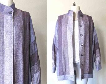Vintage Irish wool coat LAVENDER STRIPED oversized - L