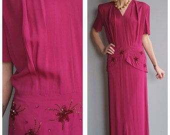1940s Gown // Wistful Dance Rayon Gown // vintage 40s gown