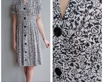 1940s Dress // Woodland Fairy Silk Dress // vintage 40s dress