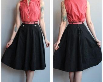 1940s Skirt // Sundown in Austin Black Aline Skirt // vintage 40s skirt