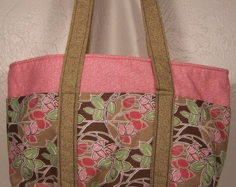 Pink Art Deco Six Pocket Tote Bag