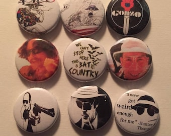 "Hunter S Thompson 1"" Pins Buttons Badges Set of 9 Dr Gonzo Fear and Loathing Bat Country"
