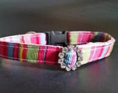 "Dog collar, puppy collar, toy breed collar, stripe collar, rhinestone collar, cat collar, 3/8"" collar"