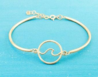 Wave Bracelet - Gold - Charm Bracelet - Adjustable - Nautical Jewelry - Coastal Jewelry - Beach Jewelry - Wave Jewelry - Summer Jewelry