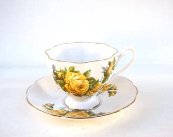 Vintage English Crown teacup and saucer 5392 bone china white yellow roses gold tea party gift for her Mothers Day birthday gift anniversary