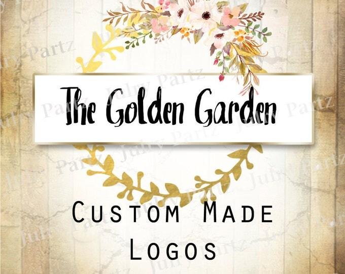 LOGO in Golden Gardenl•Premade Logo•Jewelry Card Logo•Flower Logo•Custom Logo•Shop Logo