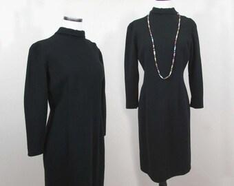 A'nR Jr Basic Black Dress - Poly Fine Knit - 1960s - M
