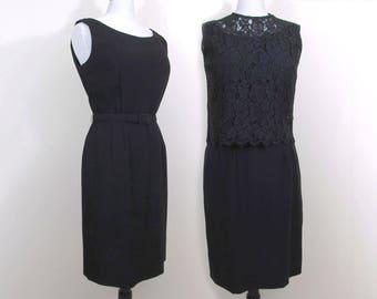 60s Little Black Dress with Lace Top - Cocktail Dress, Formal Dress - Med-Large