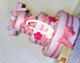 Baby Diaper Cake Peas in a Pod Pink WITH or WITHOUT Initial Shower Gift Centerpiece