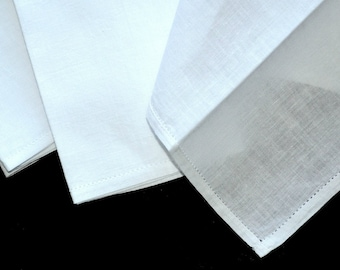 VINTAGE MENS HANDKERCHIEFS 1950s White Cotton Hem Stitched Never Used Mid Century 15 1/2 x 16 in. Laundered Pressed Sized