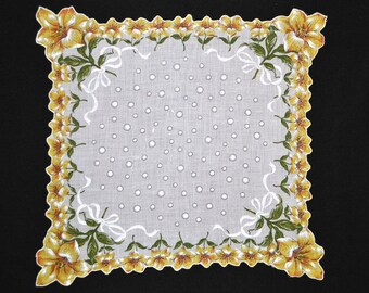 VINTAGE HANKIE Yellow Lilies on Bright White Field Lily Border Embossed Ribbons Bubbles Scalloped Shaped Hem Corded 1950s New Condition