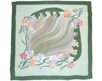 Vintage Silk Scarf Abstract Floral Watercolor Deep Green Pale Mint Coral Aqua Pink Silk Crepe 33 x 34 in. Hand Rolled Hem Mint Condition