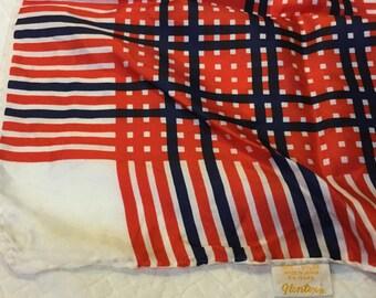 Vintage GLENTEX Scarf Japan Red White Blue Checkerboard Large Square