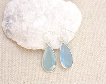 Blue Chalcedony Teardrop Earrings, Sterling Silver, Precious Stone, Ready to Ship