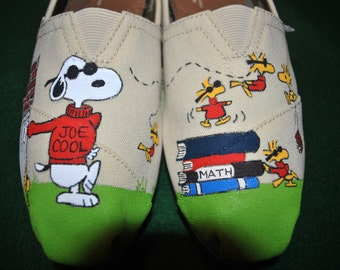 New Custom Hand Painted snoopy slip ons  Cool Joe on Toms    sorry sold