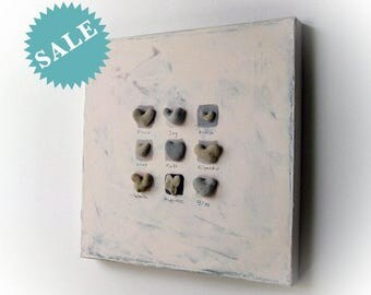 Unique Mothers Day Gift - Gift for Family - Special Gift Mom - Pebble Art - 3D wall decor, Heart Shaped Rocks From the beach - On Sale - L12